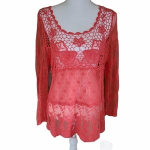 crochet lace sheer top coral size L
